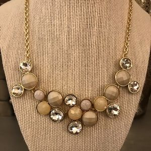 Diamond Tan Cream Gold Statement Necklace